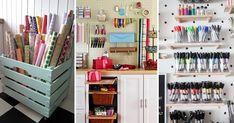 Aprenda a fazer um organizador de gavetas para facilitar a sua vida | Revista Artesanato Craft Room Closet, Gift Wrap Storage, Craft Room Design, Diy Drawers, Home Studio, Craft Organization, Game Room, Easy Diy, Office Supplies