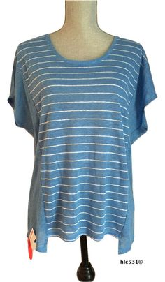 NWT $135 VINCE Striped Linen Cocoon Tee Light Blue White Dolman Popover Tunic XS #Vince #Tunic #Casual