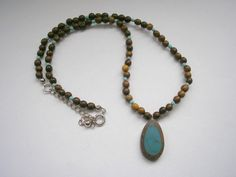 Vintage wood Africal style beaded necklace by badgestuff on Etsy, $4.00