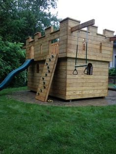 Kids Castle Play Set by North Country Sheds. Stittsville ON. Castle Playhouse, Playhouse Outdoor, Playhouse Plans, Kids Outdoor Play, Backyard For Kids, Indoor Play, Playground Design, Backyard Playground, North Country Sheds