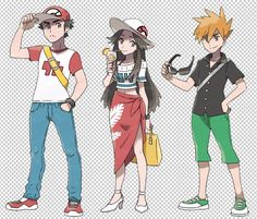 Pokémon Alola Sun and moon trainers. Blue, Red, and Green. I WISH LEAF WOULD COME BACK TOO T-T AND YELLOW!!!
