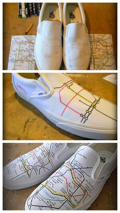 DIY Ideas for Decorating Your Sneakers Never get lost again. These sneakers have the London Underground map on them.Never get lost again. These sneakers have the London Underground map on them. Custom Painted Shoes, Painted Vans, Painted Sneakers, Hand Painted Shoes, Custom Vans, Custom Shoes, Customised Vans, Painted Canvas Shoes, London Underground