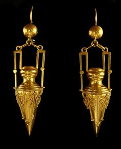 "Castellani 15 kt yellow gold Urn Shaped Earrings, approximately 2-1/3"" from top of wire x 1/2"" at widest point. Notice beautiful wire work. The Castellani line is of the finest workmanship."