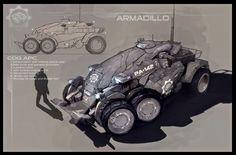Armadillo APC concept art from Gears of War Gears Of War, Diesel Punk, James Hawkins, Cyberpunk, Science Fiction, Future Transportation, Real Time Strategy, Futuristic Cars, Futuristic Vehicles
