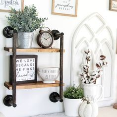 Wow, her ideas are amazing and incredibly affordable! Mason Jar Lids, Ladder Bookcase, Dollar Tree, Diy Tutorial, Ladder Decor, Things That Bounce, Farmhouse, Shelves, Toilet