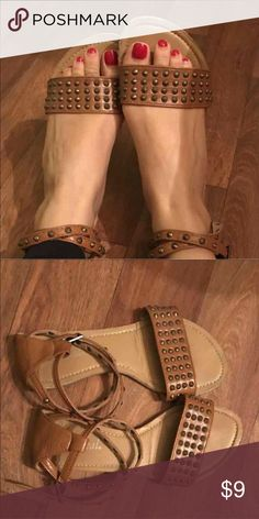 SOLD----Studded sandals On trend chic flat sandals! Studds on wrap around ankle straps! As you can see, these are too big on me. I hope you'll love them! Wet Seal Shoes Sandals