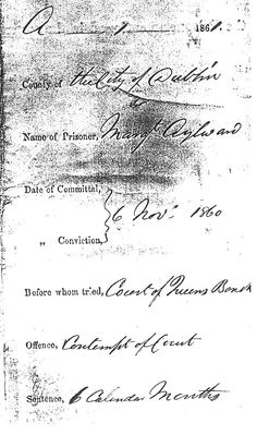 Irish Nun in Prison in Ireland 1860 | Death in Dublin Baby Farms Document stating crime and sentence of Margaret Aylward