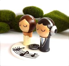 DJ Music Themed Wedding Cake Toppers