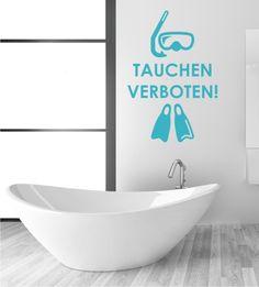Wandsticker, Wandtattoos, Wandaufkleber, Wandtattoos für das Badezimmer, Tauchen verboten, lustiges Badezimmer Wandtattoo