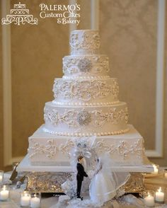 White Pearlized Vintage Scrolling 5 Tier Buttercream Wedding Cake