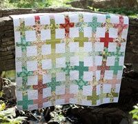Hello, Garden --Easy Quilt Throw sure to go anywhere.Cheri House used precut strips and a coordinating solid.