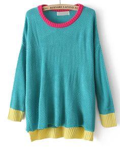 Blue Long Sleeve Contrast Trims Dipped Hem Sweater - Sheinside.com