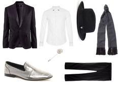 Look 2: At about silver: Bold silver leather slippers from Asos € 60. Topman shirt slim cut also has metal detailing on the neck (40 €). The tie tack we can use it as a brooch on the lapel, giving it a more romantic to outfit, this one from Asos (20 €). The most sophisticated look what gives this silk scarf flecado black and white Paul Smith (155 €). And finally fedora fedora style Brixton (CPV), which also includes a metal sheet.