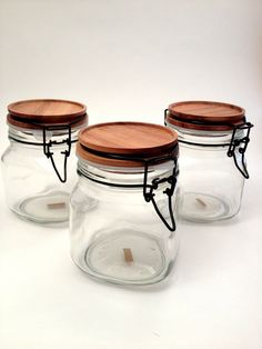 Teak Lid Storage Jars