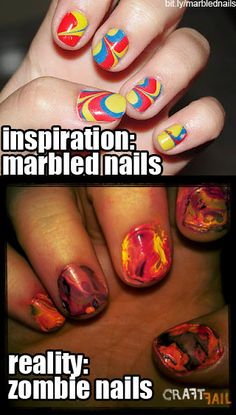 Fantastic Nail Art Actually I kind of like the zombie nails. The marble nails are creepy in a way. Pin Fails, Funny Fails, Epic Fail Pictures, Funny Pictures, Zombie Nails, Fail Nails, Best Fails, Expectation Vs Reality, Pinterest Fails