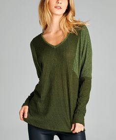 Loving this Olive Contrast V-Neck Sweater Tunic on #zulily! #zulilyfinds