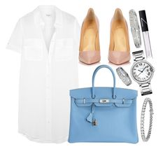 """""""Hermès, Louboutin and Cartier"""" by camrzkn ❤ liked on Polyvore featuring Equipment, Hermès, Christian Louboutin, Cartier, Blue Nile and NARS Cosmetics"""