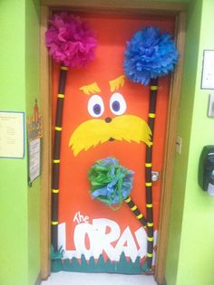 Dr Seuss door decoration for the library. I love The Lorax!