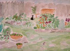 Cinder in the garden, watercolor on paper