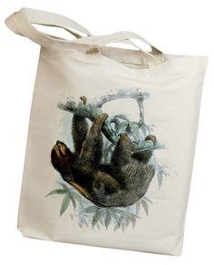 Sloth Vintage Eco Friendly Canvas Tote Bag id0156 by idiopix