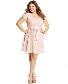 Love Squared Plus Size Short-Sleeve Lace A-Line Dress