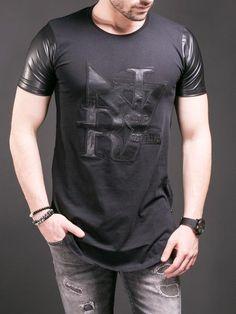 N R Men NR7 Faux Leather Sleeves Side Zippers T-shirt - Black 967408045be43