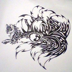 A kitsune, tribal tattoo style. Tattoo Tribal, Tribal Art, Flame Tattoos, Body Art Tattoos, Fox Embroidery, Fox Art, Human Art, Tattoo Studio, Japanese Art