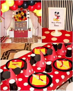 great mickey party decor, lots of diy