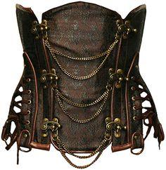 c5285b8d944 Bslingerie Gothic Punk Heavy Duty Brown Faux Leather Steel Boned Underbust  Corset (M