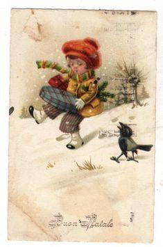 bn0095 CARTOLINA BUON NATALE BAMBINO E MERLO vg 1927   Collezionismo, Cartoline, Tematiche   eBay!