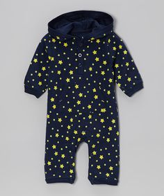 Look at this Navy & Yellow Star Hooded Playsuit - Infant on #zulily today!