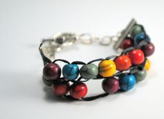 Row Counter Bracelet for knitting - Knitting Abacus - Rainbow colors
