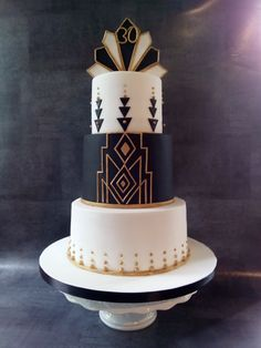 Art Deco birthday cake - cake by Mandy Art Deco Cake, Cake Art, 1920s Cake, 30 Birthday Cake, Art Birthday, Gatsby Party, 21st Party, Gatsby Theme, Gatsby Wedding