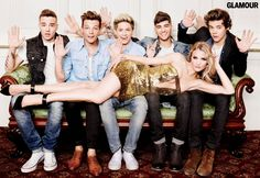 Hands off, boys! The guys of One Direction with Rosie Huntington-Whiteley in Glamour, August 2013