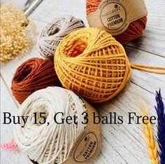 Singles Twist, Macrame Cord, Yarn Bag, Ribbon Yarn, Cotton Rope, Plant Hanger, Recycling, My Etsy Shop, Vivid Colors
