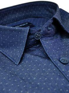 Denim slim fit shirt. www.raimonti.gr