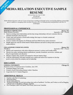 #Media Relation Executive Sample Resume (resumecompanion.com)