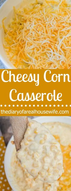 Cheesy Corn Casserole This recipe is going to be on my Thanksgiving table for sure. Easy side dish that I know all my guest are going to love. Side Dishes Easy, Vegetable Side Dishes, Side Dish Recipes, Thanksgiving Side Dishes, Thanksgiving Recipes, Thanksgiving Appetizers, Christmas Recipes, Canned Corn Recipes, Easy Corn Recipes