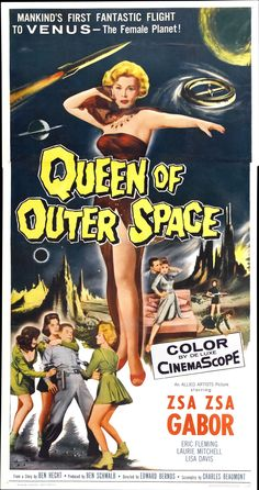 Movie Poster: classic image-Zsa Zsa Gabor as Queen of Outer Space, Old Movie Posters, Classic Movie Posters, Movie Poster Art, Horror Movie Posters, Cinema Posters, Old Movies, Vintage Movies, Retro Vintage, Uma Thurman