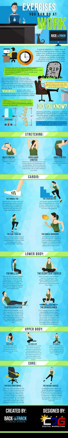 """Keep moving with this workout to do at work! Try these """"deskercises"""" to stay moving and combat the negative effects of sitting."""