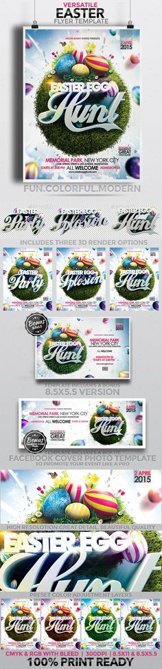 This colorful, playful, modern and funky Easter Flyer Template is the perfect way to promote and market you event.. It is easy to edit and has a range of options available to you for customization. It comes in 2 flyer sizes (8.5×11 and 8.5×5.5) and a bonus Facebook Cover Photo Template to use on your Facebo