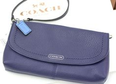 Coach Park Leather Large Wristlet HANDBAG Clutch F49177 (Indigo) EXCLUSIVE NWT -- works as a wallet/purse/clutch -- $67.99