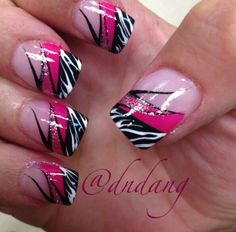 Image via Zebra nails designs one nail Image via Teal and black zebra. Image via Step By Step Nail Art Tutorials For Beginners Zebra Nails Art Image via Acrylic nail desig Pink Zebra Nails, Zebra Nail Art, Blue Nails, Nail Swag, Hot Nails, Hair And Nails, Gorgeous Nails, Pretty Nails, Nagel Hacks