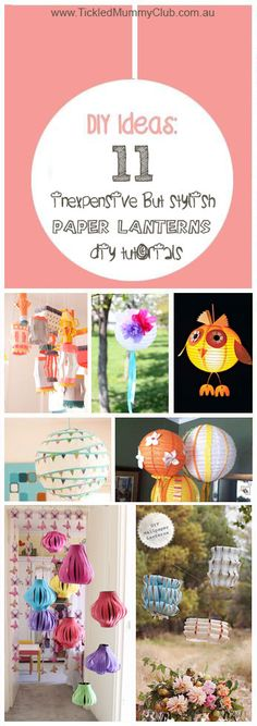 { #Home #Decor } One of the most popular items of decoration is undoubtedly paper lanterns which are fast, fun, inexpensive, festive & totally custom. Colorful and illuminating, these  paper lantern crafts are a fantastic way to brighten up your next celebration. Click to see 11 inexpensive but stylish paper lantern ideas with tutorials!