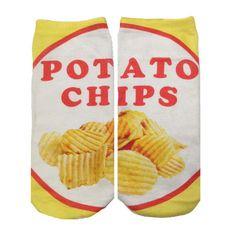 POTATO CHIP SOCKS ($8) ❤ liked on Polyvore featuring intimates, hosiery and socks