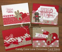 Handmade Christmas Card ideas featuring Stampin Up! Candy Cane Lane paper and Cookie Cutter Christmas stamp set and punch by Patty Bennett