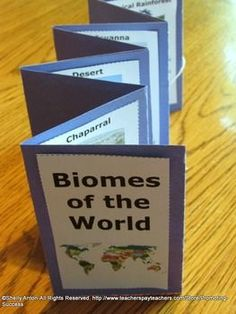 Biomes: In this biomes of the world bundle, you will receive biomes task cards as a great alternative to worksheets, biomes accordion book, biomes word wheel, and a biomes word wall. https://www.teacherspayteachers.com/Product/Biomes-of-the-World-BUNDLE-Task-Cards-Science-Interactive-Notebook-Facts-988065