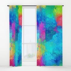"""Your drapes don't have to be so drab. Our awesome Window Curtains transform a neglected essential into an awesome statement piece. Featuring a single-sided print with a reverse white side.     - Dimensions: 50"""" (W) x 84"""" (H)   - Available in single or double panel options   - Crafted with 100% lightweight polyester, blocks out some light   - 4"""" hanging pocket for easy hanging on any rod   - Single side print on front with reverse white side   - Machine wash cold, tumble dry low Window Curtains, Wall Prints, Window Treatments, Rainbow, Windows, Graphics, Cold, Quilts, Pocket"""