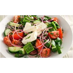 Classic Greek Salad ❤ liked on Polyvore featuring food