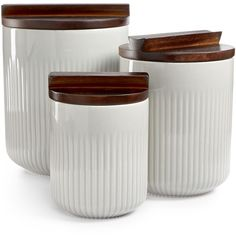 Hotel Collection Set of 3 Canisters with Wooden Lids, ($134) ❤ liked on Polyvore featuring home, kitchen & dining, food storage containers, modern, 3 pc canister set and 3 piece canister set